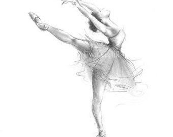 Dancer Drawing Etsy