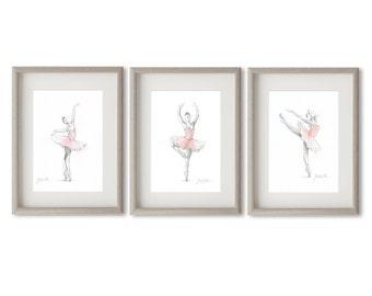 Disegni Di Ballerine Da Disegnare : Set di 3 stampe arte ballerina ballerina balletto etsy