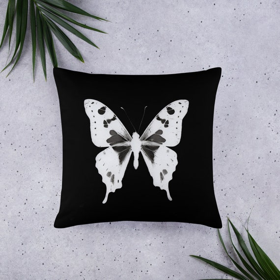 Butterfly House Quilted Pillow White
