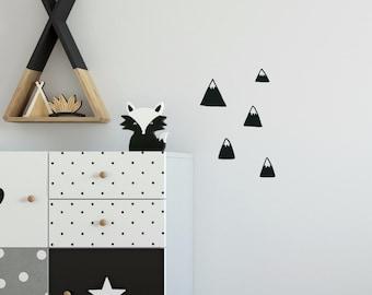 Wall Sticker Mountains Set black