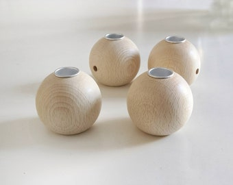 4 wooden ball candle holder made of solid beech 60 mm large