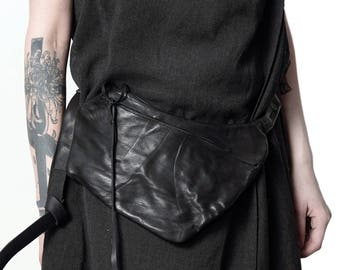 leather hip bag 029Y-black