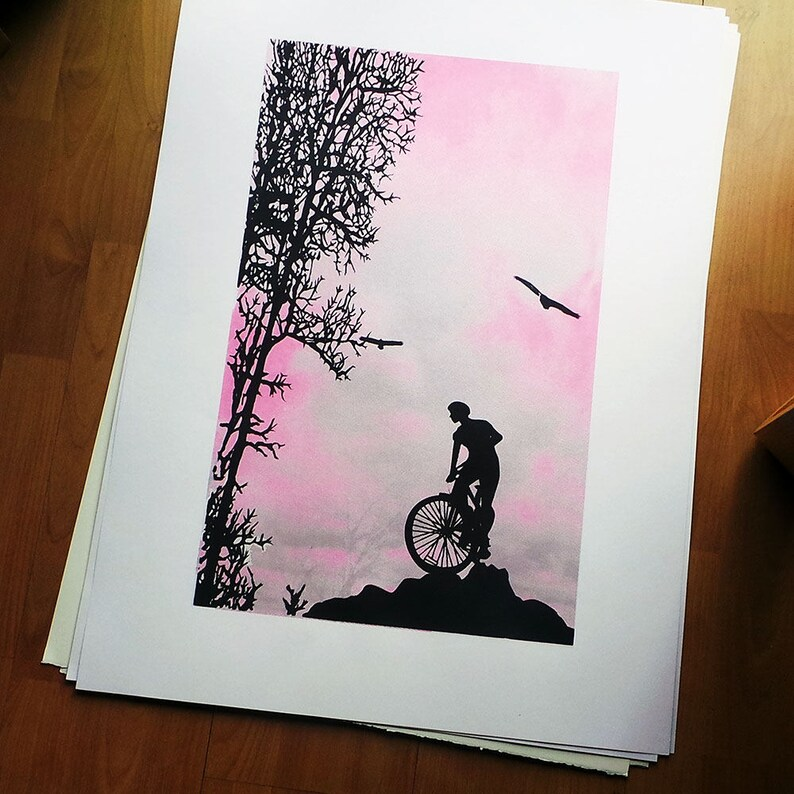 Limited edition screen print wall art  Mountain Top   Bike image 0