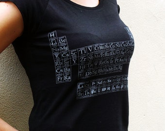 Typographic Periodic Table of Elements women's bamboo T shirt