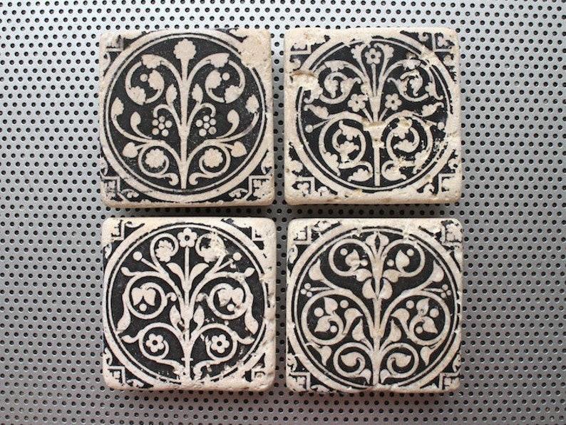 Fiori medievali set 4 magneti per piastrelle in pietra da 2 etsy