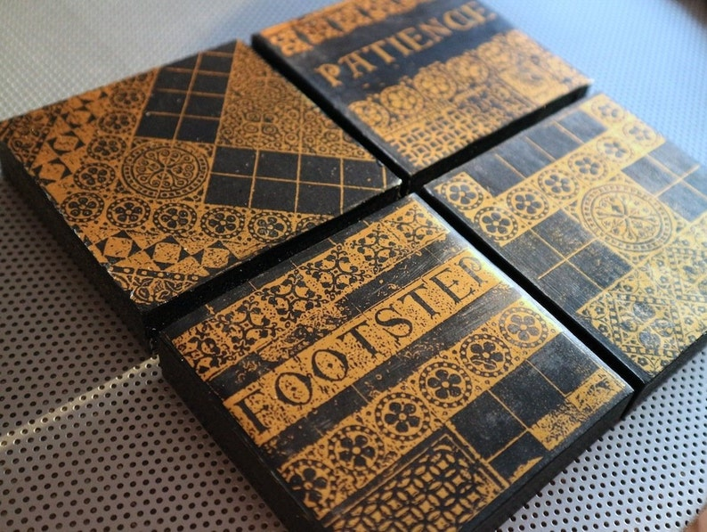 Patience and Footsteps gothic tiles / Four 4-inch black & gold handmade  wood block photo / vintage medieval religious prints FREE SHIPPING
