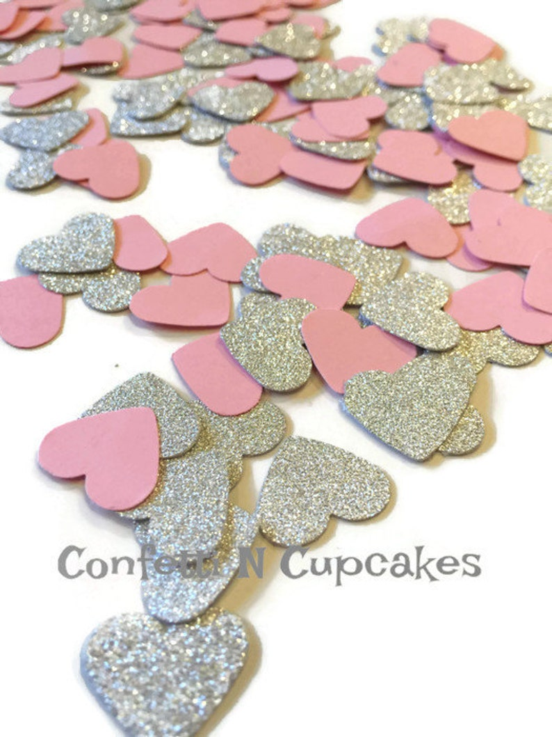 Pink /& White Tissue Hearts Wedding Throwing Confetti  Decoration 2000 Silver