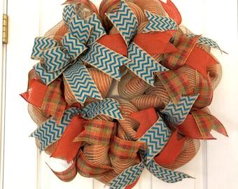 Teal Fall Wreath, Fall Burlap Wreath, Fall Wreath, Thanksgiving Door Hanger, Harvest Decor, Thanksgiving Burlap Wreath, Fall Decor