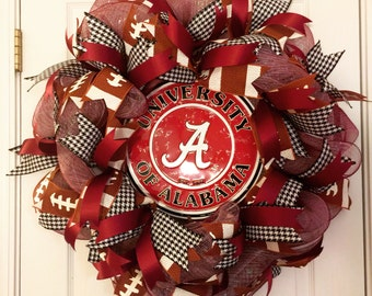 Alabama Wreath, University of Alabama Wreath, Crimson Tide Wreath, Roll Tide Wreath, Alabama Decor, Univerisity of Alabama Football Wreath