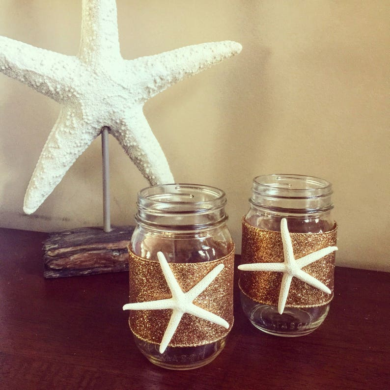 Nautical Mason Jar Vases Starfish Vase Mason Jar Vase Set image 1