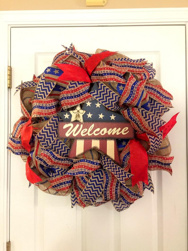 Patriotic Wreath Americana Wreath Star Wreath Military Americana Star Wreath American Star Rustic Wreath Stars and Stripes Wreath