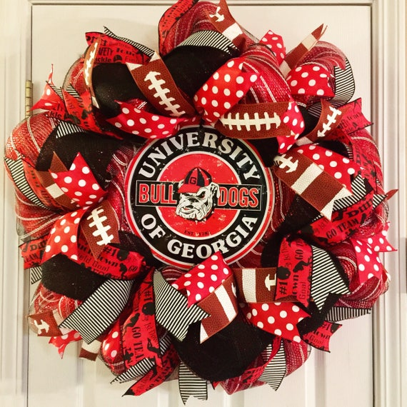 red and white; UGA Wreath Can be personalized University of Georgia Wreath University Wreath Burlap Wreath black College Wreath