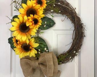 Sunflower Wreath, Grapevine Sunflower Wreath, Sunflower Decor, Floral Grapevine Wreath, Anytime Wreath, Everyday Wreath, Year Round Wreath