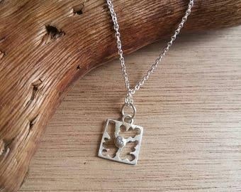 """Pendant / / """"square-cut"""" Silver 925 with zircon"""