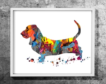 Basset 02 design  watercolor art print, Watercolor/Acrylic painting, Dog, Animal, Decorative dog art, Colorful wall decor, INSTANT DOWNLOAD