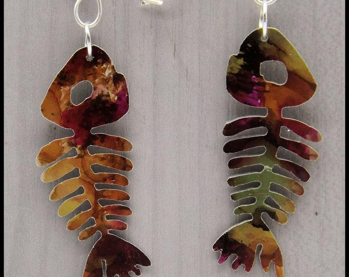 Fish Earrings, animal earrings, drop earrings, aluminium earrings, anodised aluminium, multi coloured earrings, dangle earrings, silver wire