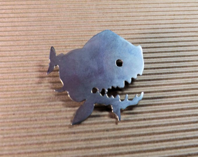 Brooch, piranah, shark, large brooch, silver, man brooch, statement brooch, animal brooch, fish brooch, hatpin, scaraf pin, bag pin,