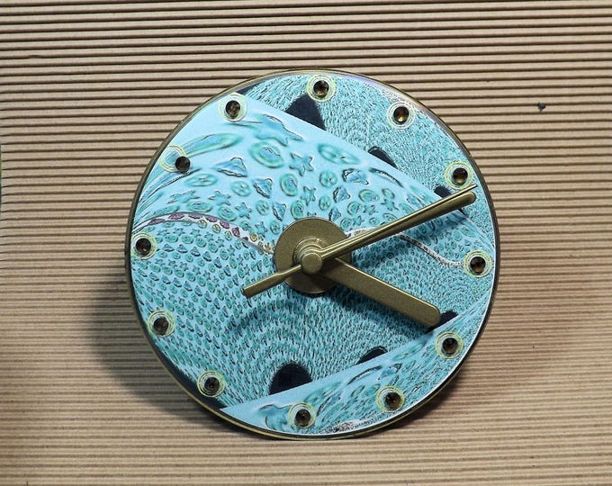 Clock, CD clock, analogue clock, small clock, gift clock, blue, white, clock for any room,