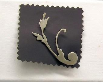 Brooch, silver brooch, flower, large brooch, statement brooch, hatpin, lapel pin, coat pin, bag pin, minimal