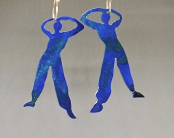 Earrings, dangle earrings, long earrings, aluminium earrings, blue earrings, people jewellery, woman shape jewellelry, dancers, hip hop