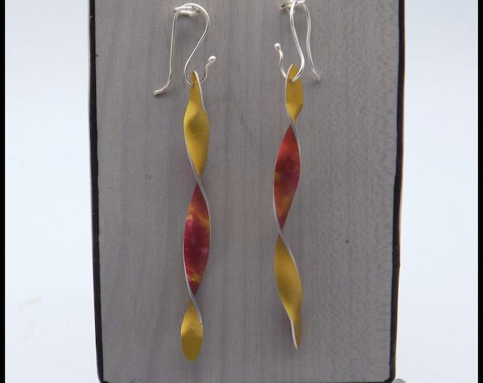 Dangle Earrings, Drop Earrings, Twisted Anodised Aluminium, Silver Wire