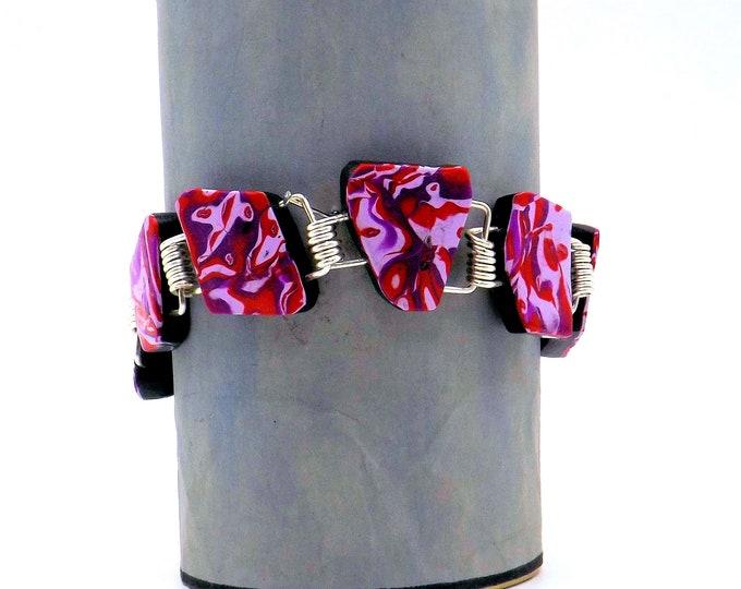 Bracelet, red bracelet, pink bracelet, multi coloured bracelet, polymer clay bracelet, silver, chunky,