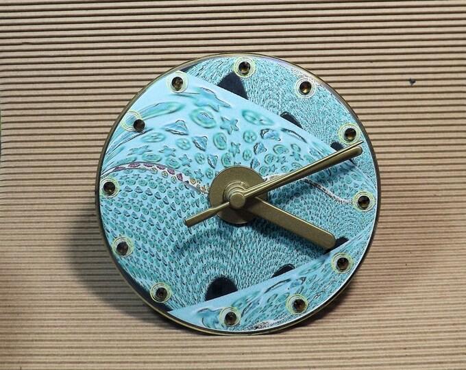 Clock, CD clock, analogue clock, small clock, gift clock, blue, white, clock for any room,