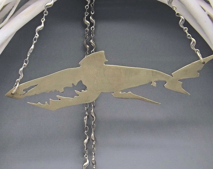 Statement Necklace, Shark Necklace, silver coloured, large necklace, sealife necklace, animal jewellery, fish jewellery