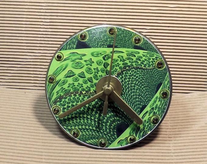 Clock, CD clock, small clock, wall clock, green, gold, gift clock, original artwork, living room clock, bathroom clock,