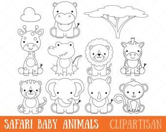 Clipart De Animales Bebé Safari Selva Animales Imágenes Etsy
