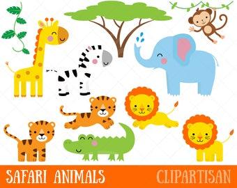 Safari Baby Animals Clipart Jungle Animals Clipart Zoo Etsy