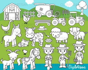 Farm Animals Clipart, Digital Stamps, INSTANT DOWNLOAD 0010