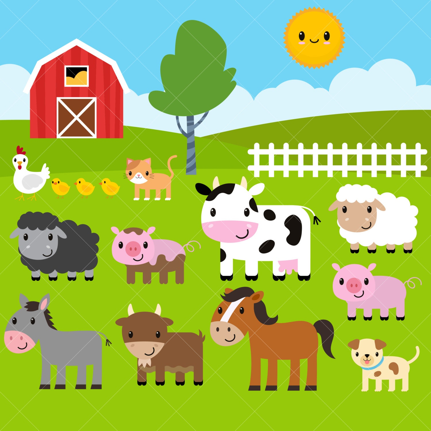 Farm Animals Clipart / Farm Clip Art / Barnyard Animals | Etsy