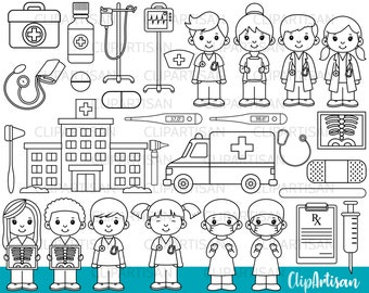 Doctor and Nurse Digital Stamps, Hospital Clipart, Ambulance, Cute Little Doctors Clip Art, First Aid, INSTANT DOWNLOAD 0009