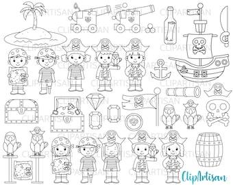 Pirate Digital Stamps, Pirates Clipart, Pirate Ship SVG, Treasure Island Set INSTANT DOWNLOAD 0007