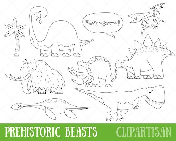 Dinosaurio imágenes prediseñadas Animales prehistóricos | Etsy