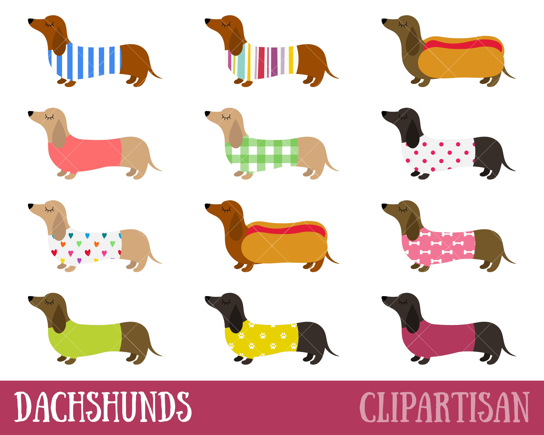 Dachshunds imágenes prediseñadas Perros salchicha de Clip | Etsy