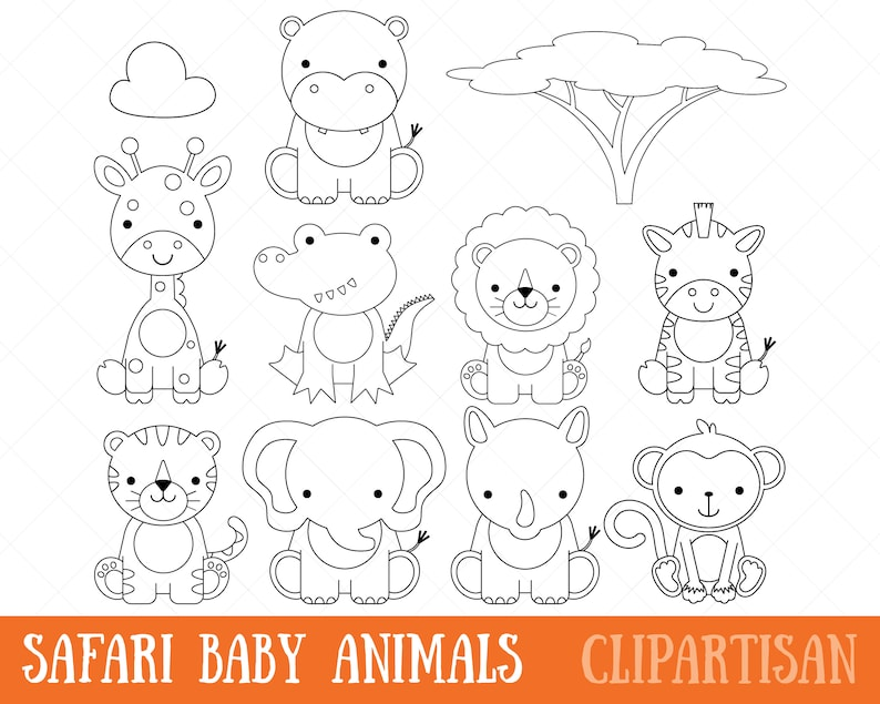 Clipart De Animales Bebé Safari Digital Sellos Página Para Colorear