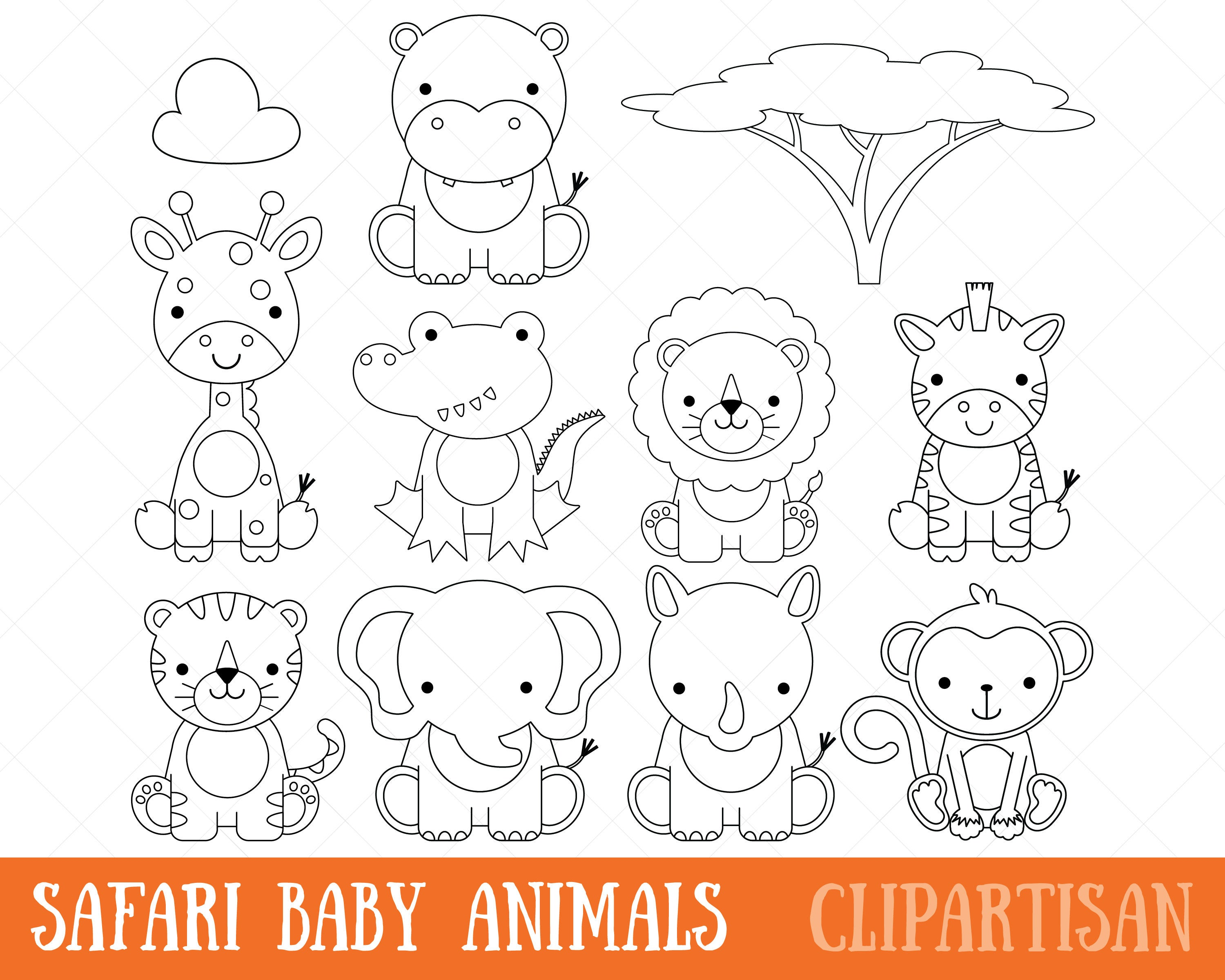 safari baby animals clipart digital stamps coloring. Black Bedroom Furniture Sets. Home Design Ideas