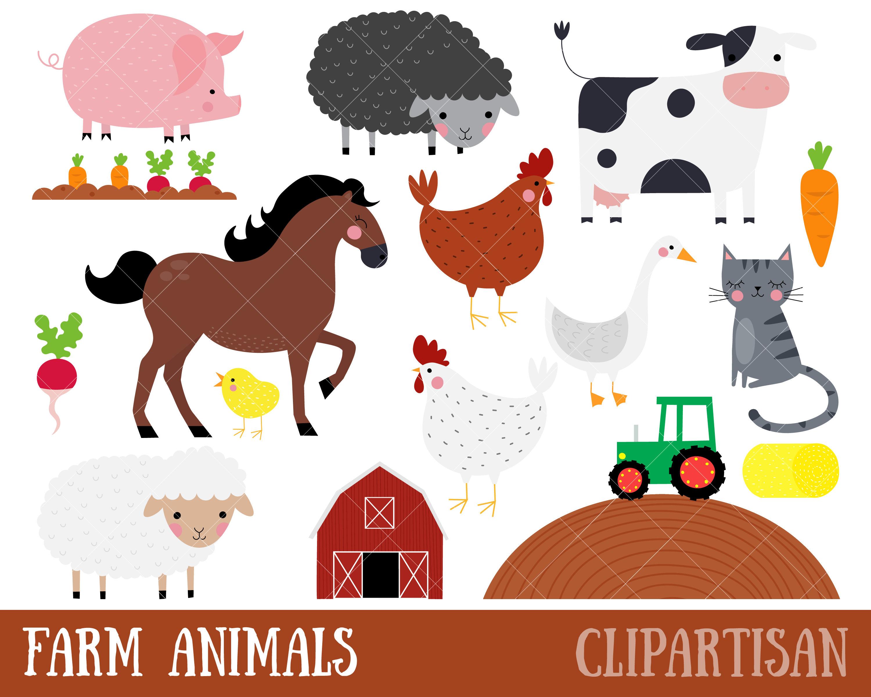Farm Clipart Farm Animals Clip Art Tractor Barn Horse | Etsy