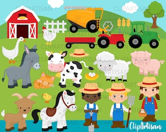 Farm Animals Clipart, Farmer, Horse, Tractor, Donkey, Goat, Pig INSTANT DOWNLOAD 0010