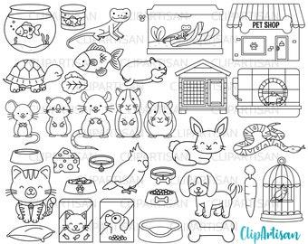 Pets Clipart, Pet Shop Digital Stamps, Cute Pets, Puppy, Kitten, Cat, Dog, Cockatiel, Hamster, Goldfish INSTANT DOWNLOAD 0008