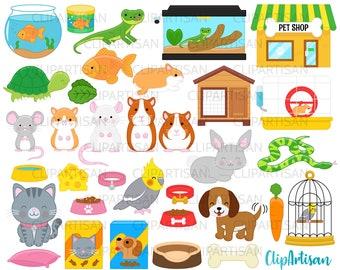Pets Clipart, Pet Shop Clip Art, Cute Pets, Puppy, Kitten, Cat, Dog, Cockatiel, Hamster, Goldfish INSTANT DOWNLOAD 0008