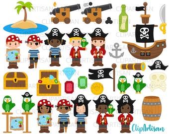 Pirate Clip Art, Pirates Clipart, Pirate Ship SVG, Treasure Island Set INSTANT DOWNLOAD 0007