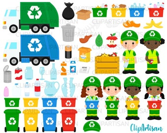 Recycling Clip Art, Garbage Truck Clipart, Earth Day, Community Helpers, PNG