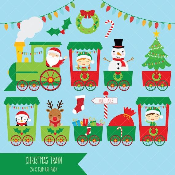 christmas train clipart santa polar express clip art etsy rh etsy com Trains at Christmas christmas train clipart free