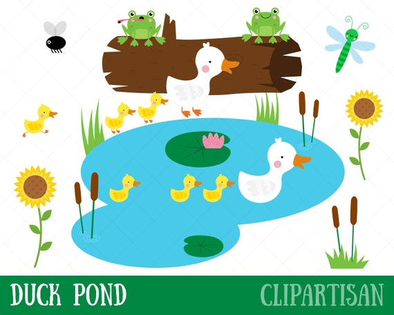 duck pond clipart mother duck and ducklings clip art etsy rh etsy com pond clip art images pond clip art color page