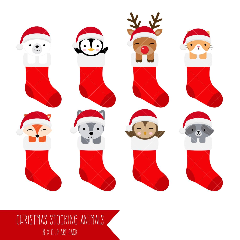 Christmas Stockings Animals Clipart | Etsy