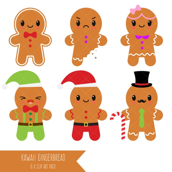 Kawaii Gingerbread Clipart Man Cookies
