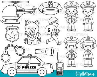 Cops Digital Stamps, Police Officer Clipart, Police Car, Boy Cop, Girl Cop, K9 Police Dog, Community Helper, INSTANT DOWNLOAD 0011
